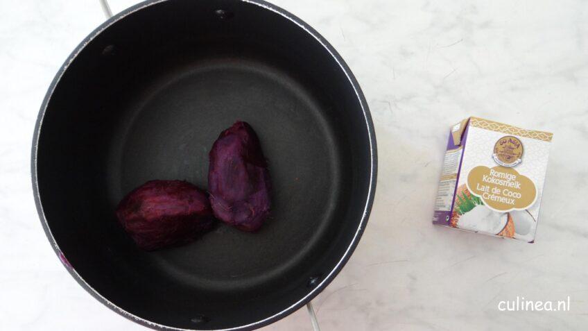 Paarse zoete aardappel kokosijs