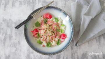 Poke bowl met kokosrijst en witvis