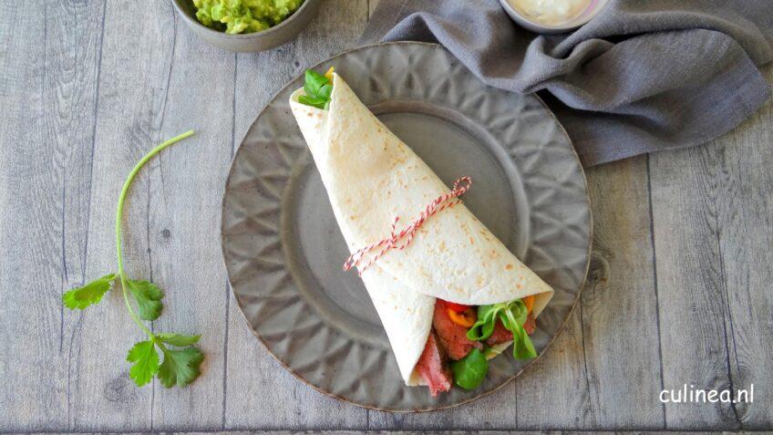 Wrap met steak en guacamole