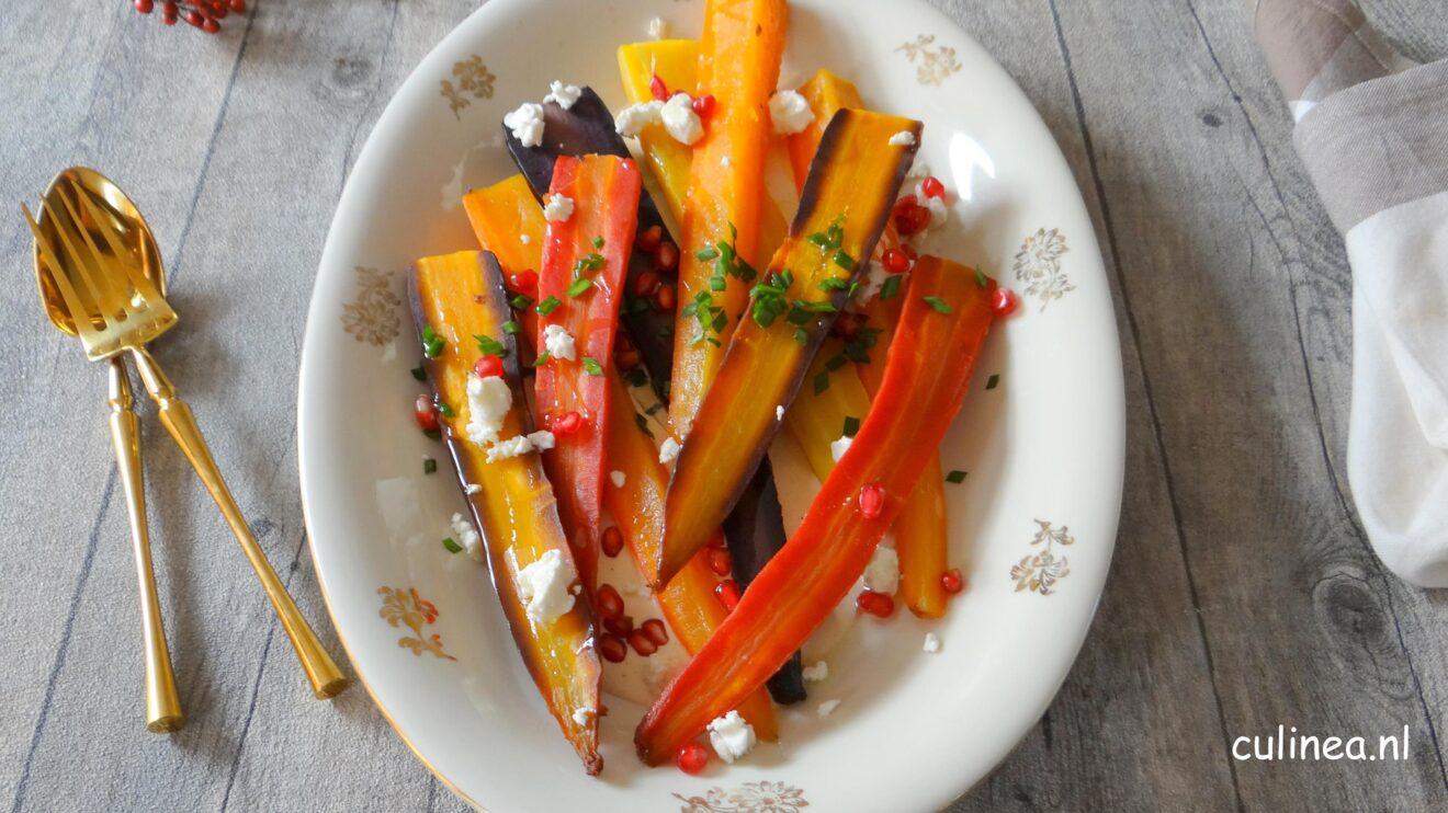 Gepofte wortelen met harissa yoghurt en feta