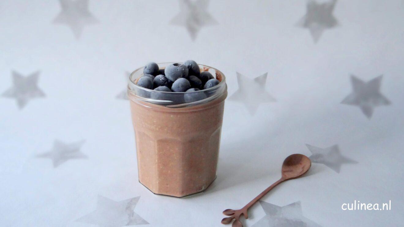 Overnight oats met cacao en pindakaas