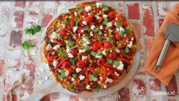 Vegetarische kebab pizza