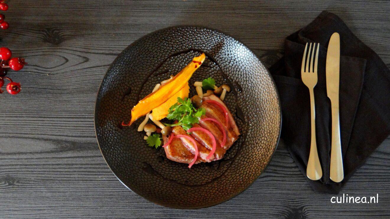 Aziatische eendenborst met zoete aardappel