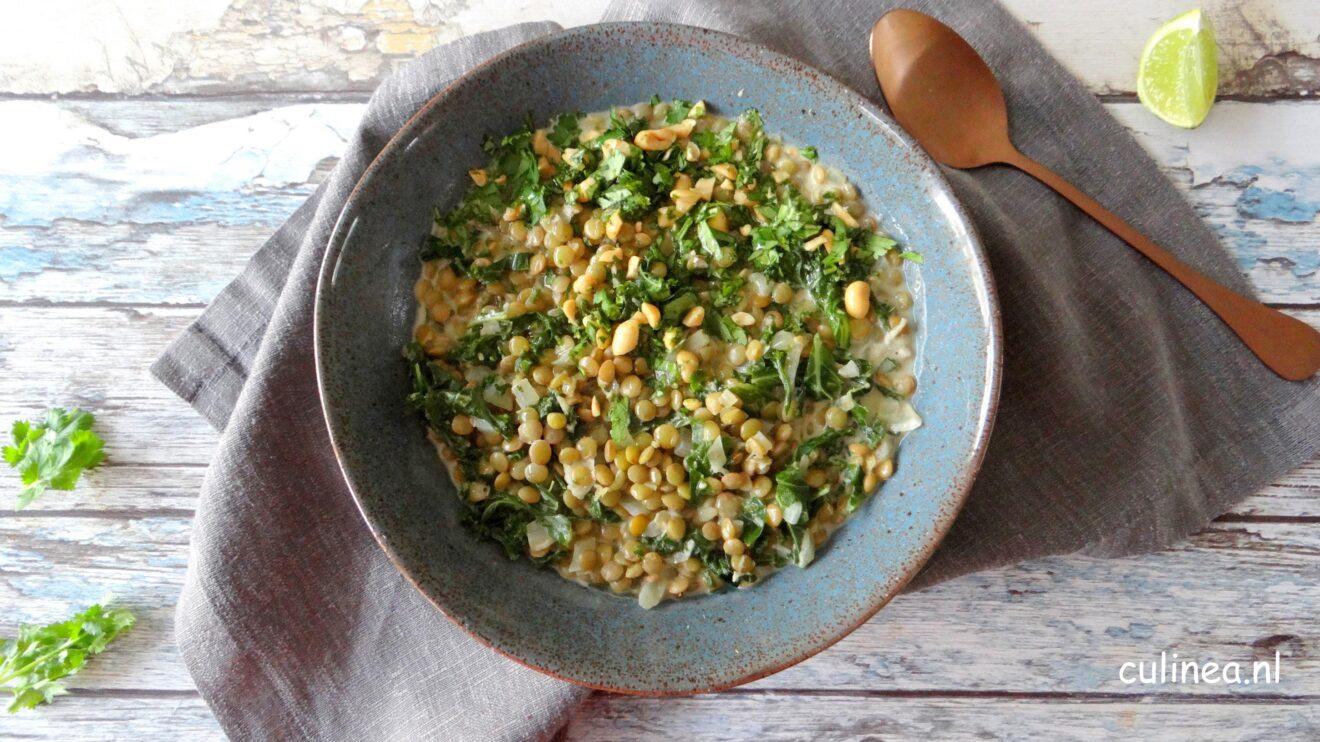 Groene linzen curry met boerenkool