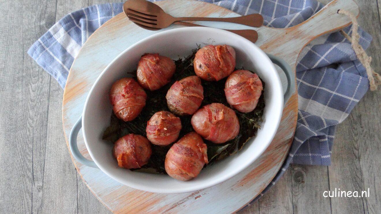 Aardappelen met spek uit de oven
