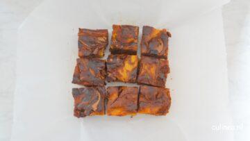 Chocolade brownies met pompoen