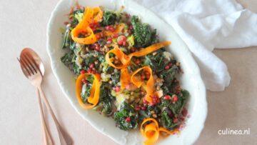 Speltkorrels met flower sprouts, prei en wortel