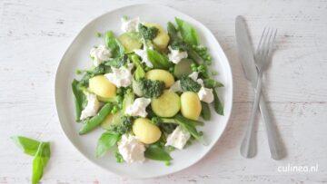 Gnocchi met groene groenten en burrata