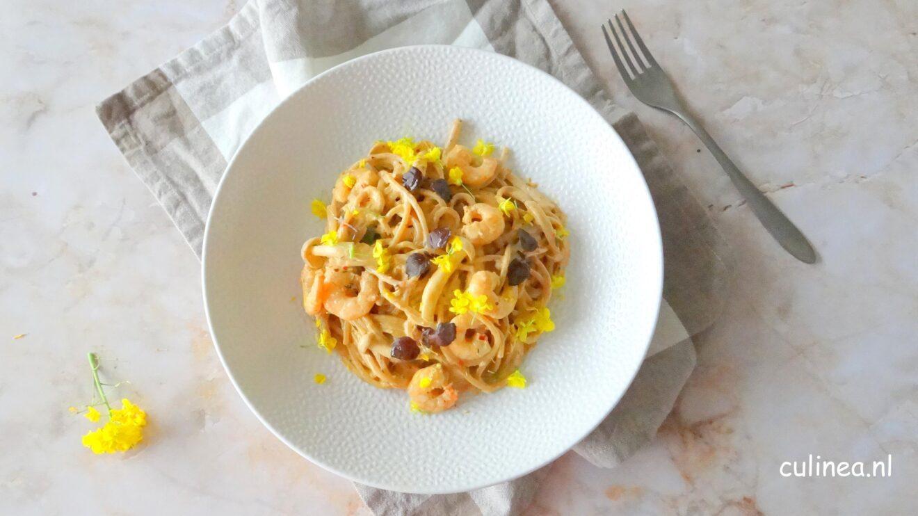 Spaghetti met Jerk garnalen
