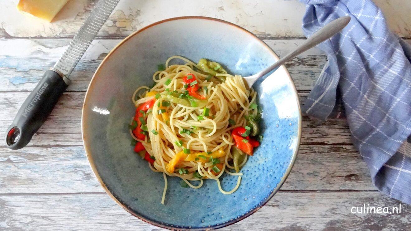 Spaghetti met geroosterde paprika