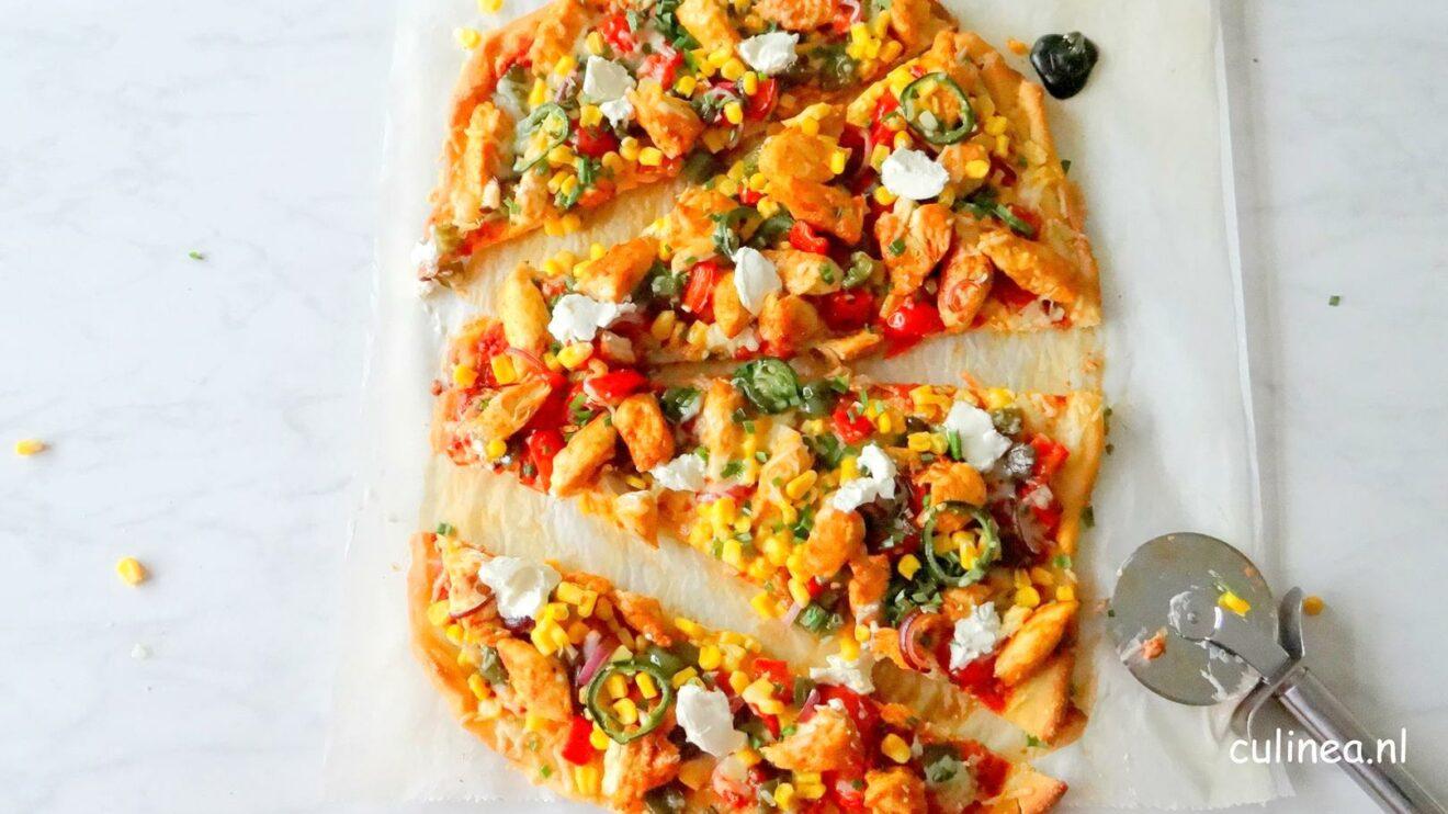 Tex Mex pizza met kip