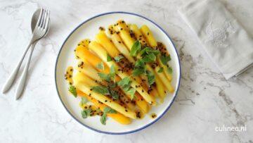 Geglaceerde wortelen met passiefruit