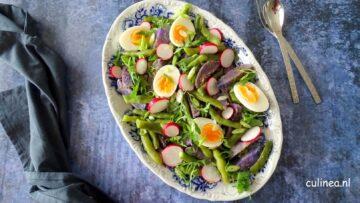 Salade met truffelaardappel en bonen