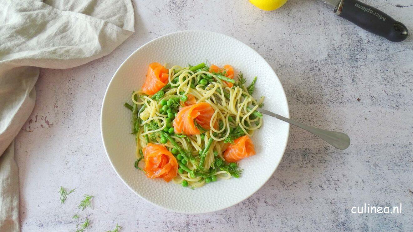 Spaghetti met gerookte zalm
