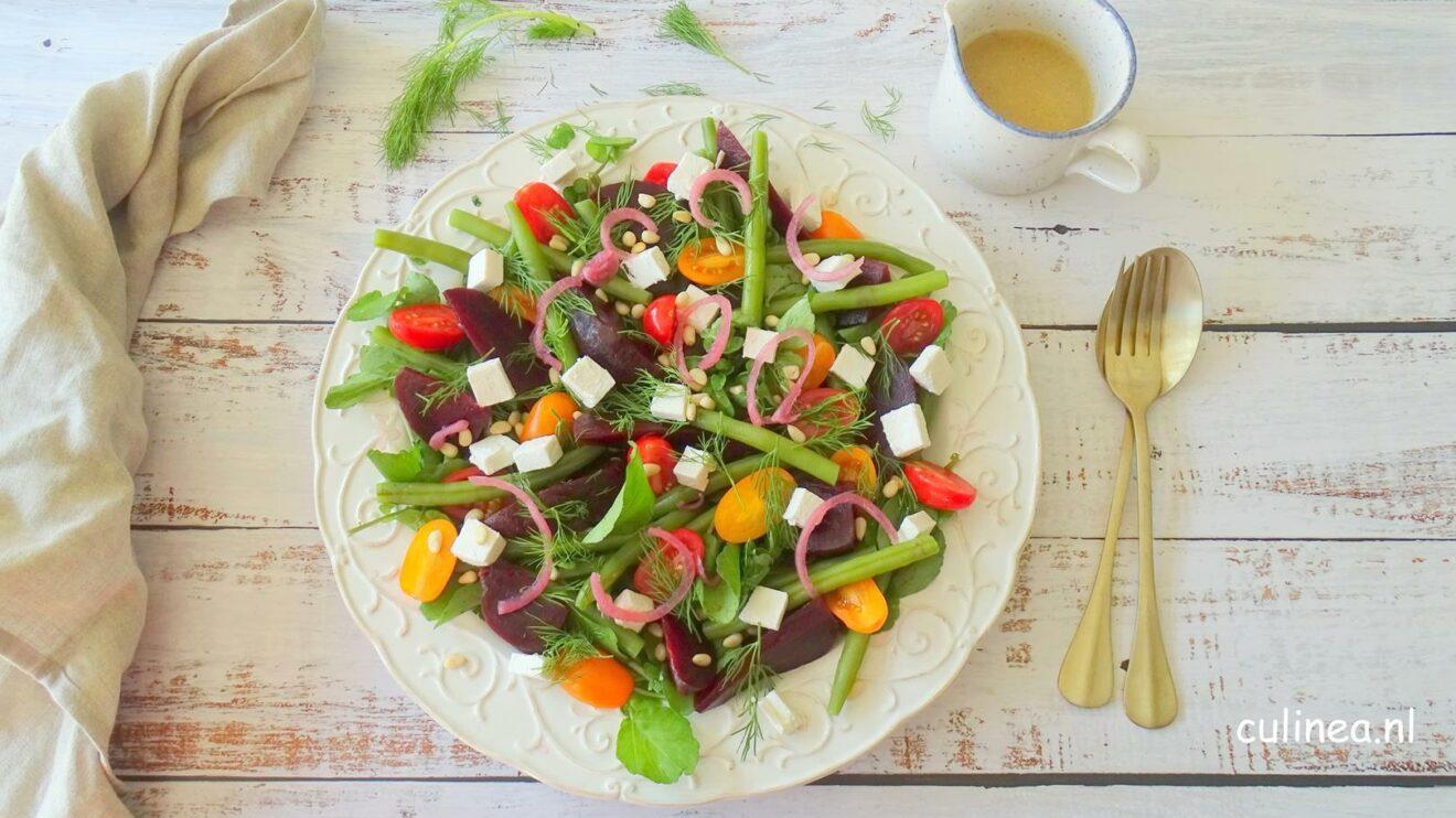 Sperziebonen salade met bietjes en tomaatjes